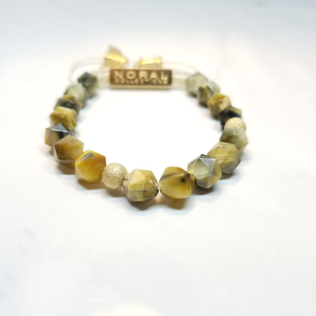 Golden Diamond Cut Tiger Eye Bracelet