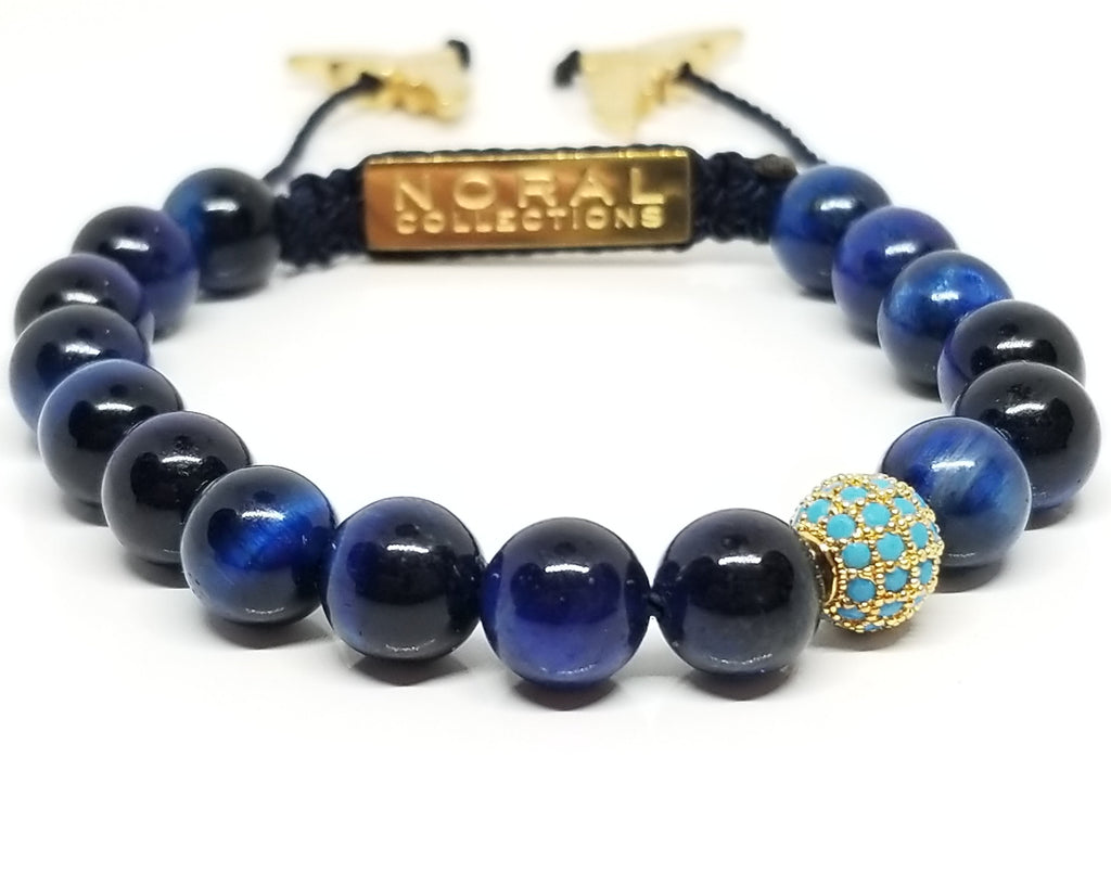 Blue Tiger Eye With Gold Cz Diamond Bracelet