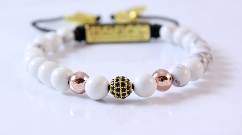 ROSE GOLD AND HOWLITE BRACELET