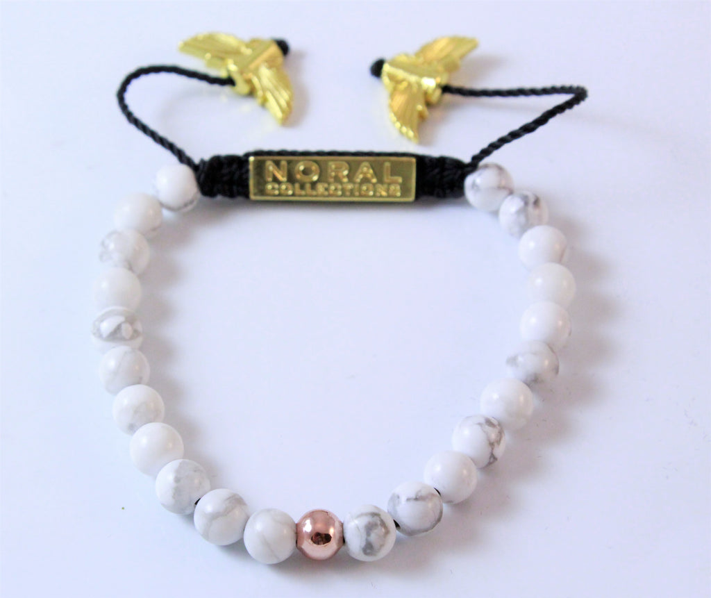 HOWLITE AND ROSE GOLD BRACELET