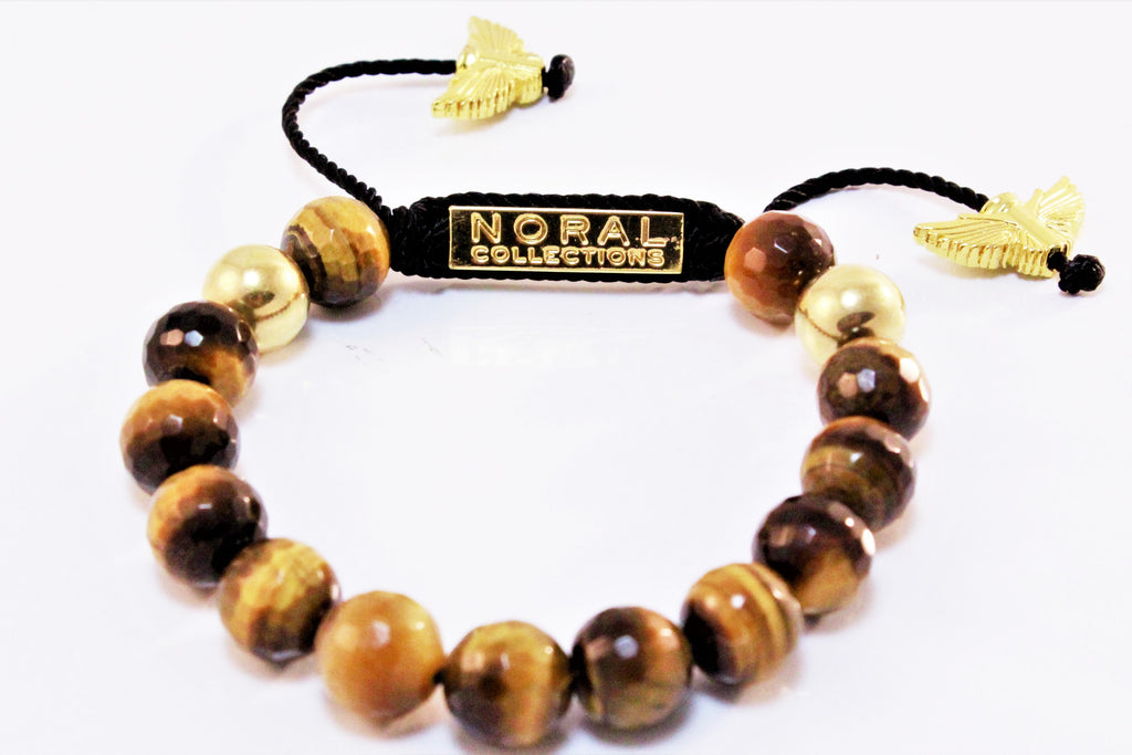 FACETED TIGER EYE WITH GOLD BEAD 2 BEAD BRACELET