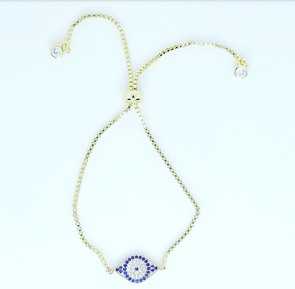 BLUE AND WHITE CZ DIAMOND EVIL EYE STRING BRACELET