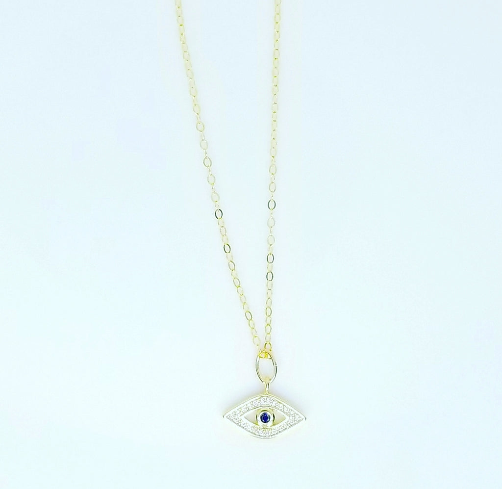 DANITY CZ DIAMOND WHITE AND ONE BLUE EVIL EYE NECKLACES