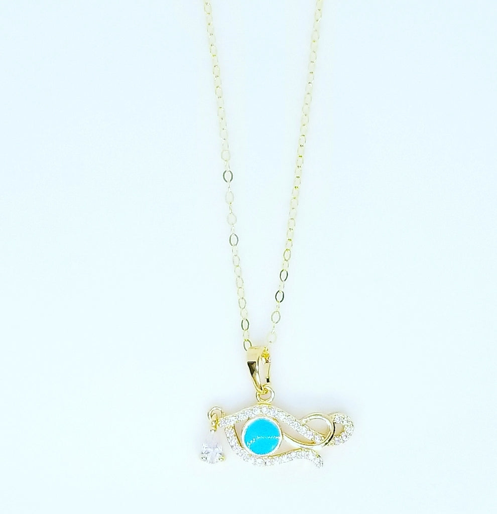 CZ DIAMOND AND BLUE TURQUOISE EYE OF HORUS NECKLACES