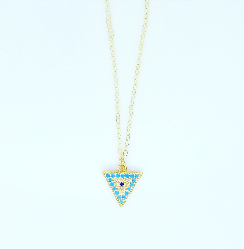 CZ DIAMOND TRI COLOR TRIANGLE EVIL EYE NECKLACES