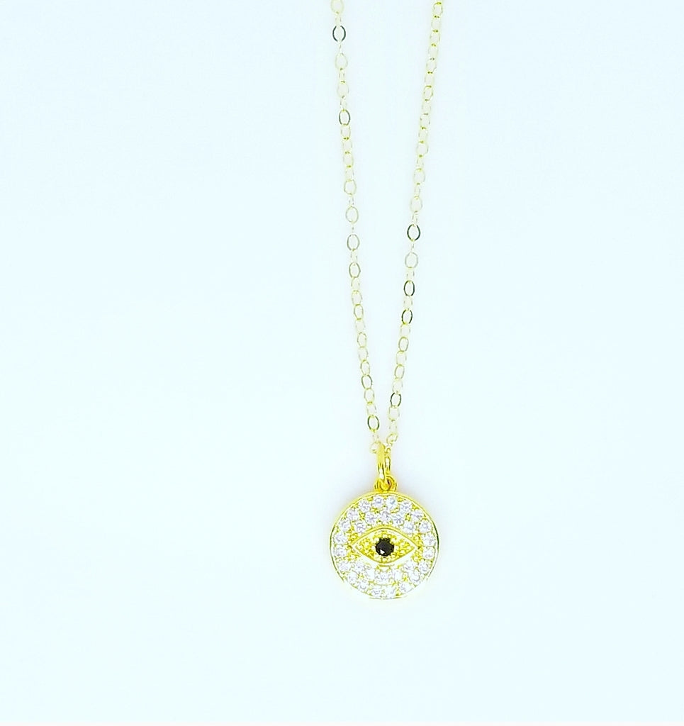 YELLOW, BLACK, AND WHITE CZ DIAMOND ROUND EVIL EYE NECKLACES