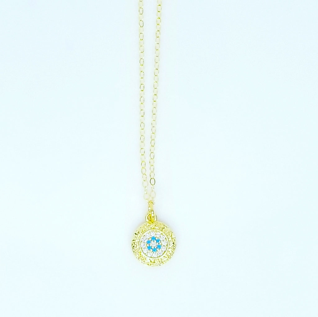 WHITE AND TURQUOISE ROUND EVIL EYE NECKLACES
