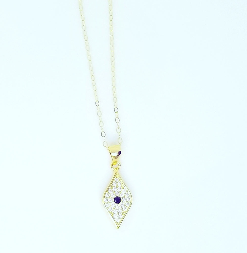 VERTICAL CZ DIAMOND EVIL EYE NECKLACES
