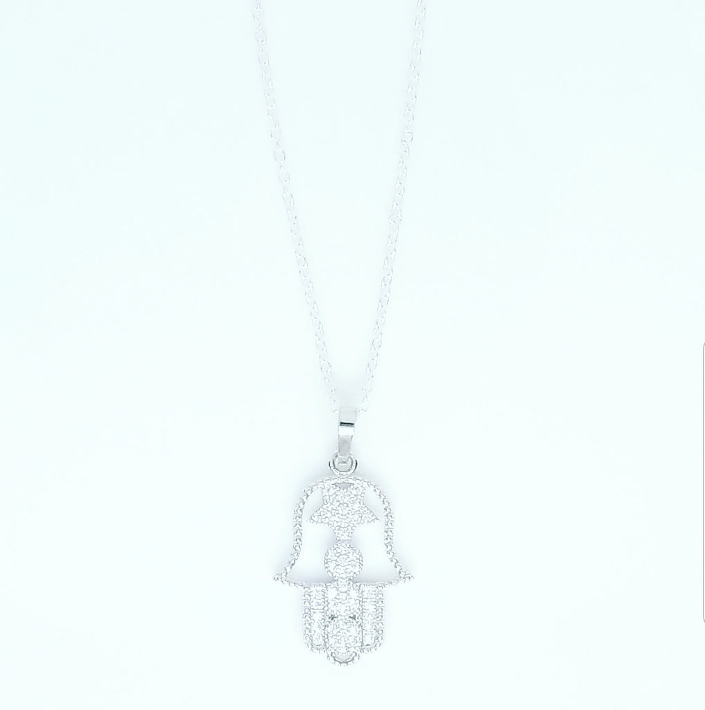 SILVER STAR HAMSA HAND NECKLACES