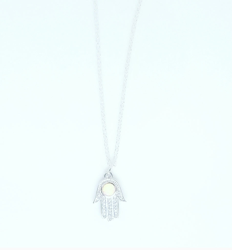 SILVER OPAL HAMSA HAND NECKLACES