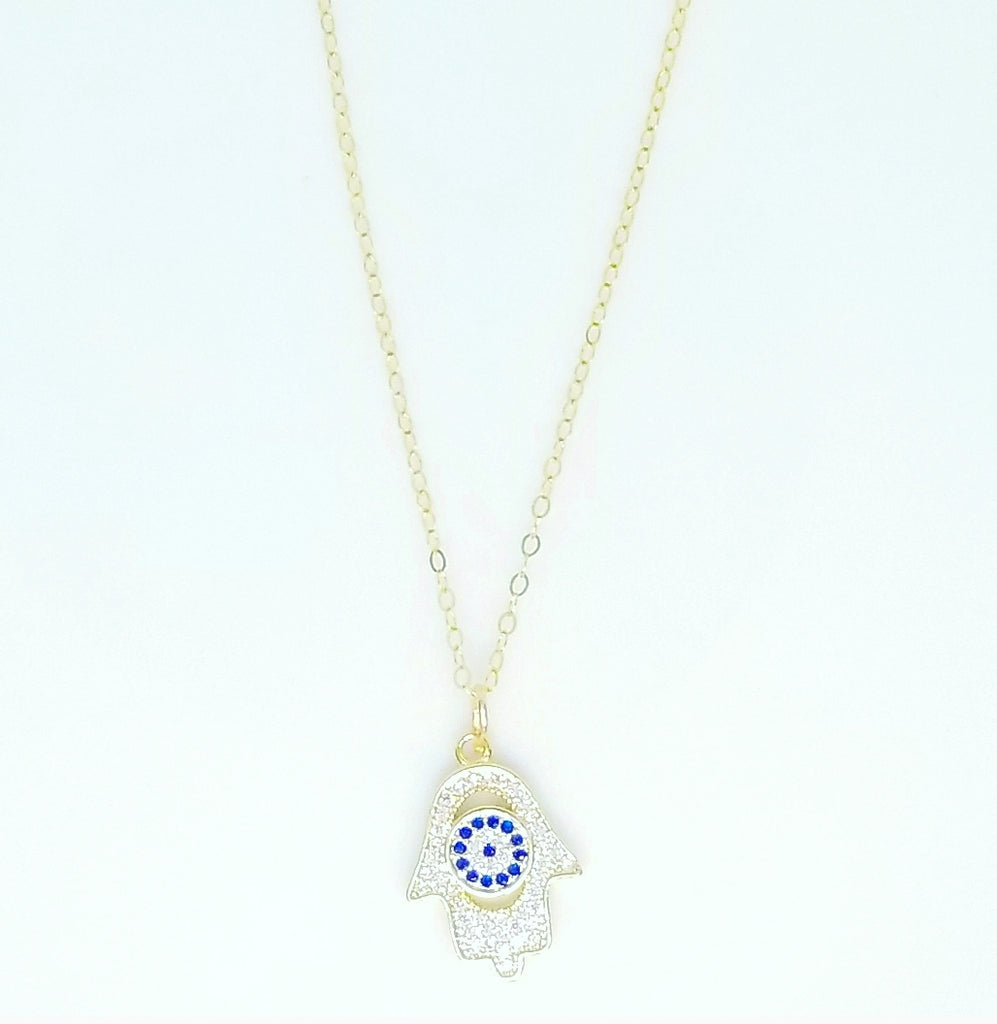 HAMSA CZ DIAMOND AND EVIL EYE NECKLACES