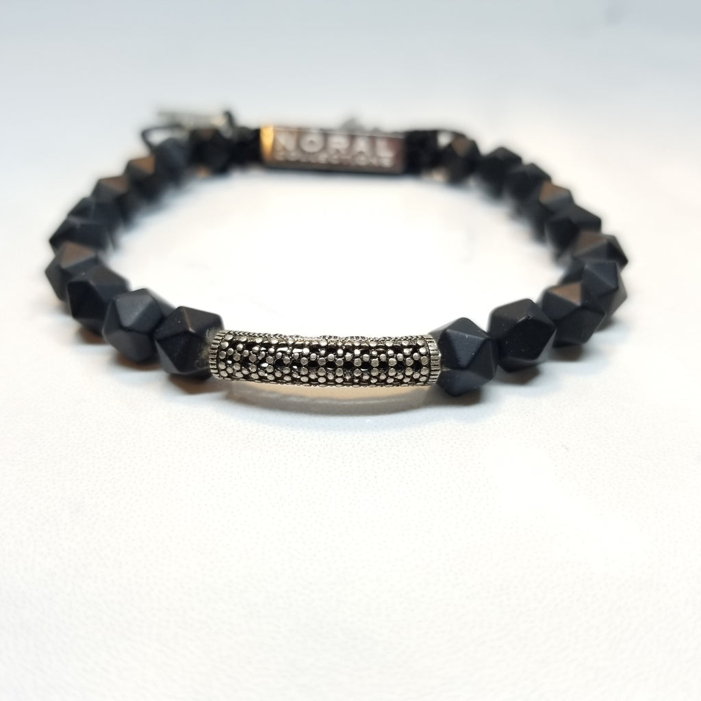 Diamond Cut Black onyx Cz diamond Bar Bracelet