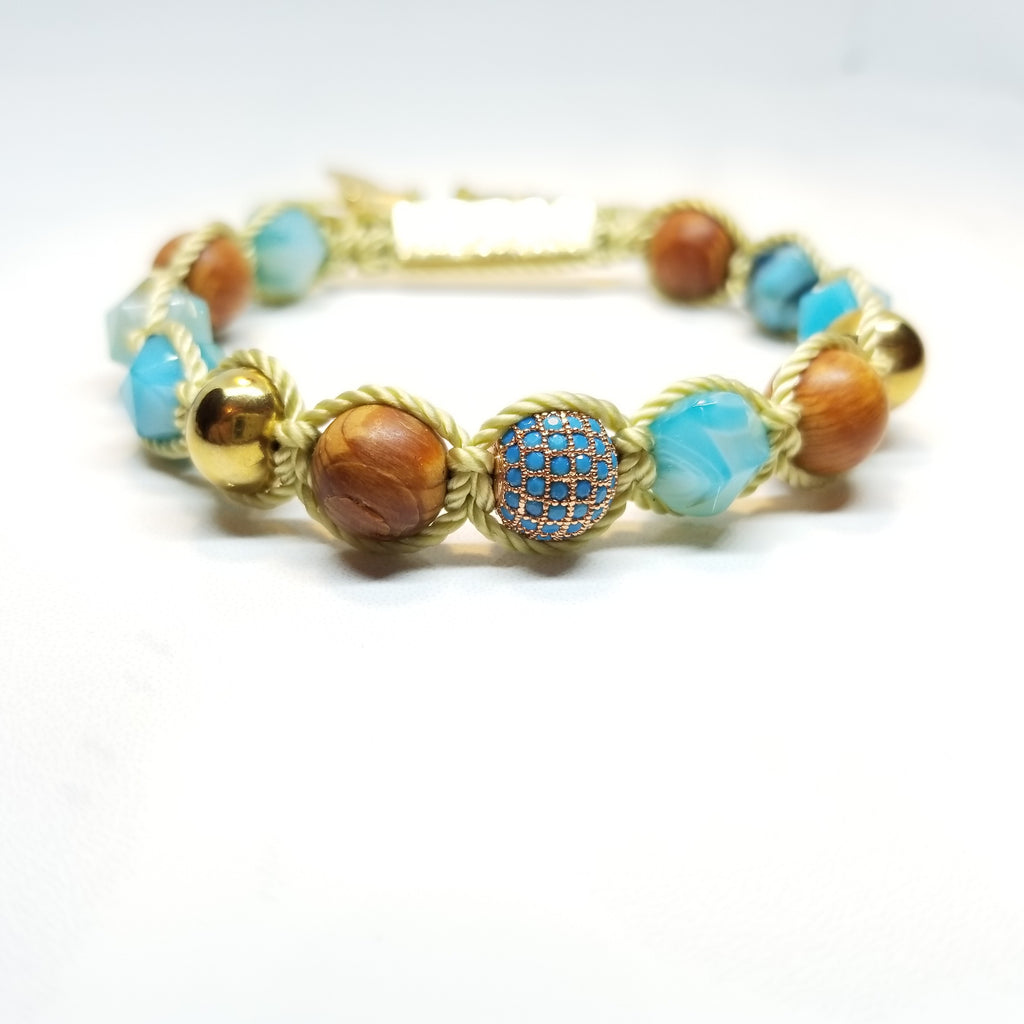 Cedar Wood and Agate Diamond cut Bracelet