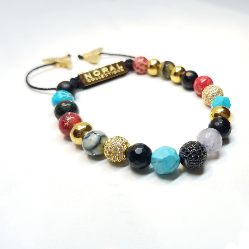 Agate, Quartz, Turquoise, Jasper, Onyx and Cz Diamond Bracelet