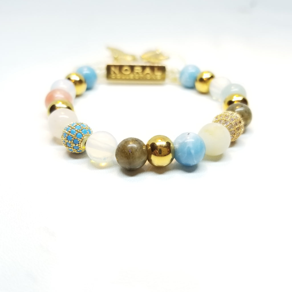 Labradorite, Opal Lite, Rose Quartz,Strawberry Quartz, Cz Diamond Bracelet