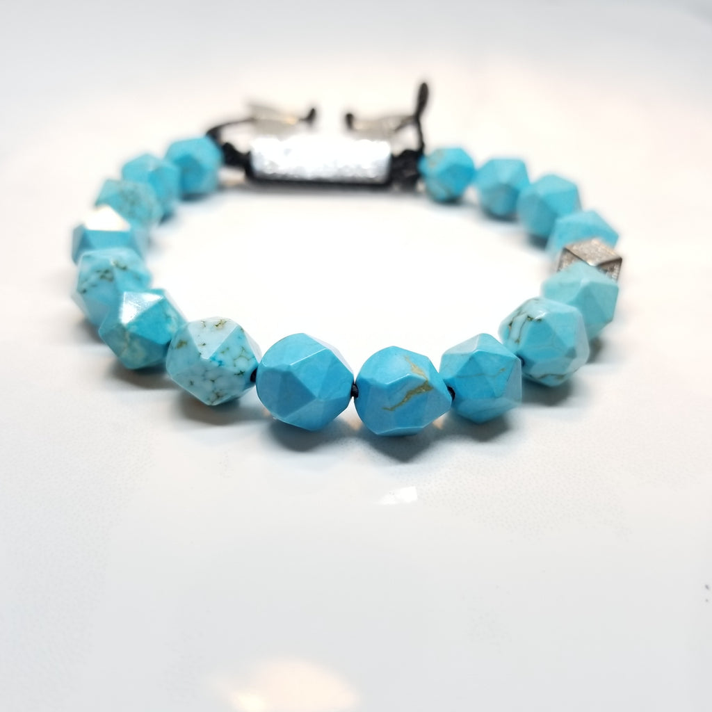 Blue Turquoise Diamond Cut Bracelet