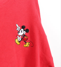 VINTAGE MICKEY MOUSE CARTOON CROPPED SLEEVE SWEATER - SIZE XL