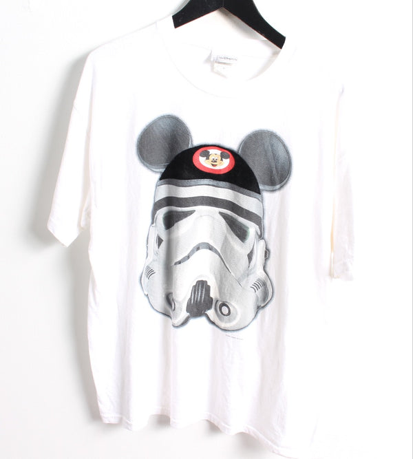 VINTAGE CARTOON T SHIRTS- SIZE L - MICKEY MOUSE STAR WARS