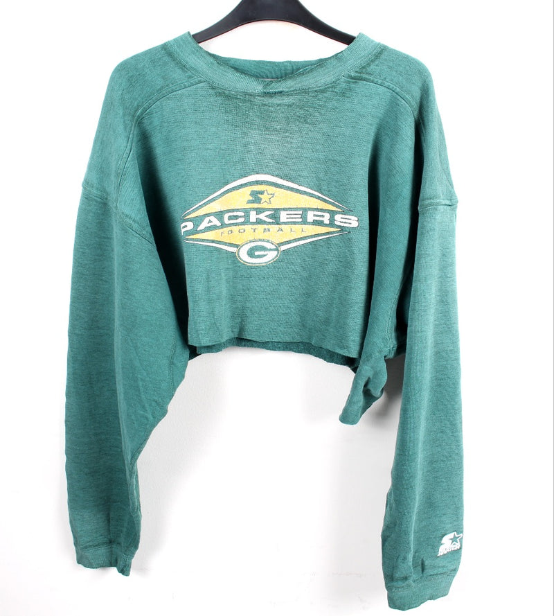 VINTAGE GREEN BAY PACKERS CROPPED PRO SPORTS SWEATER - SIZE L
