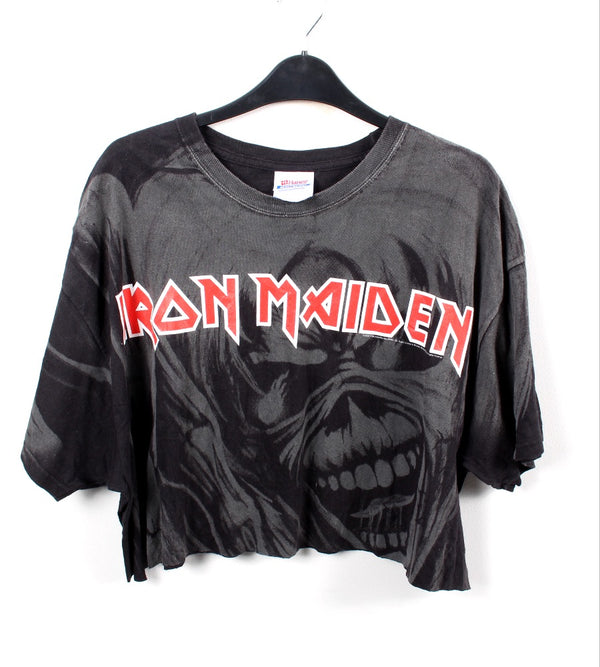VINTAGE CROPPED BAND T SHIRT- SIZE XL - IRON MAIDEN