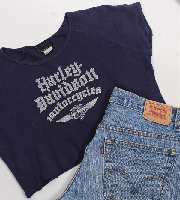 VINTAGE CROPPED HARLEY T SHIRTS- SIZE L (WOMENS FIT)