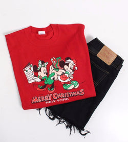 VINTAGE MINNIE X MICKEY MOUSE CARTOON SWEATER - SIZE L