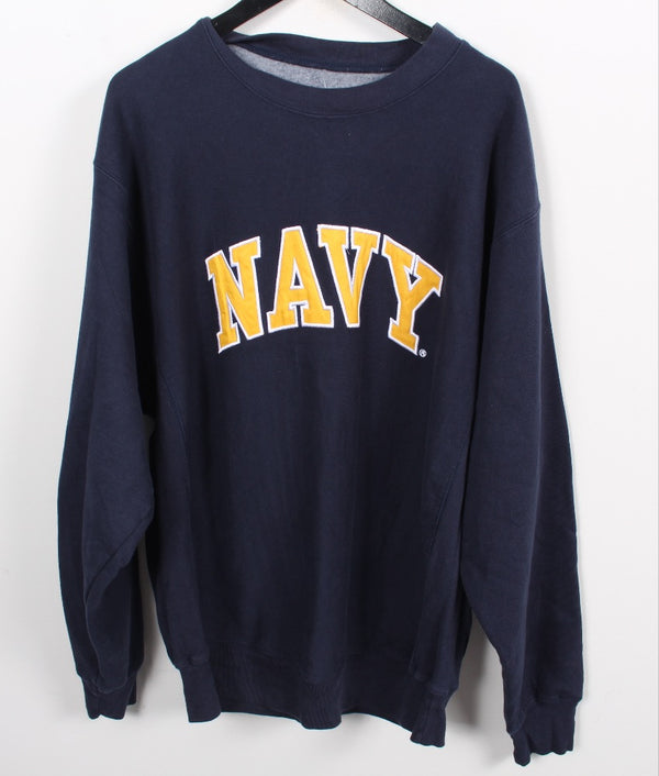 VINTAGE NAVY SWEATER - SIZE L (FITS LIKE XL)