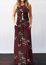 Load image into Gallery viewer, Floral Pocket Sleeveless Maxi Dress without Necklace