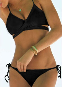 Solid Lace Up Cross Sexy Bikini Set