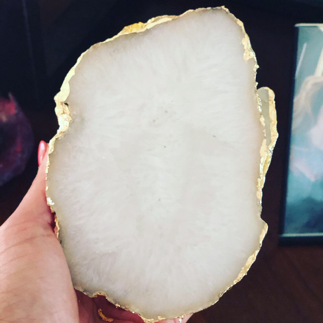 Custom clouded agate coasters