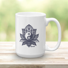 Load image into Gallery viewer, Artisan Meditation Yin Yang Lotus Coffee or Tea Mug
