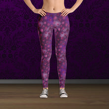 Load image into Gallery viewer, Women's Hand Sewn Whimsical Purple Lounge Leggings