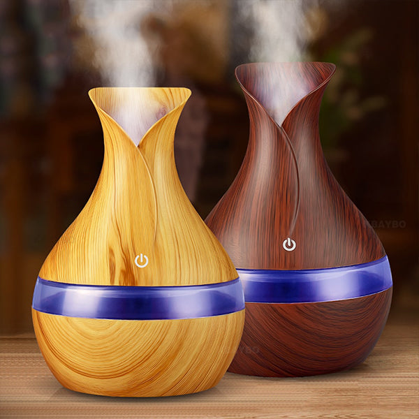 Wood Grain Chromatherapy Essential Oil Diffuser