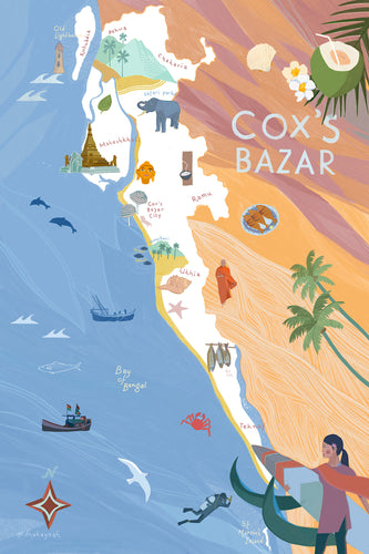 Illustrated Map of Cox's Bazar