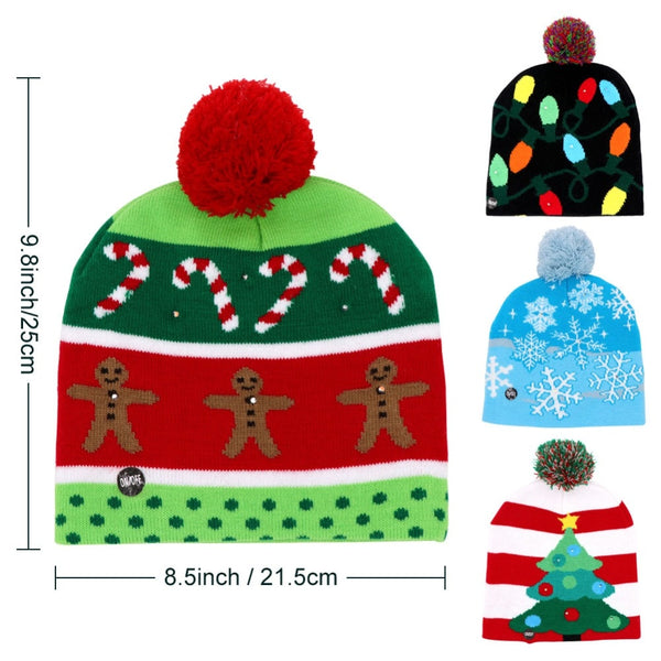 Led Light Cotton Christmas Knit Up Beanie Adult Children Cap