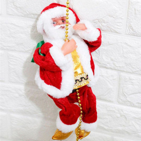 Santa Claus - Electric Climb Ladder, Hanging Christmas Decoration