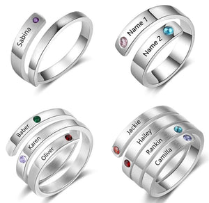 Personalized Custom Name Birthstone Rings