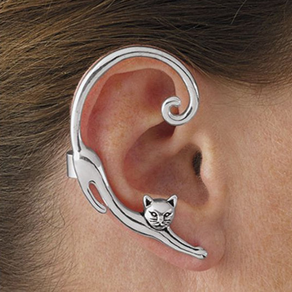cat earrings silver