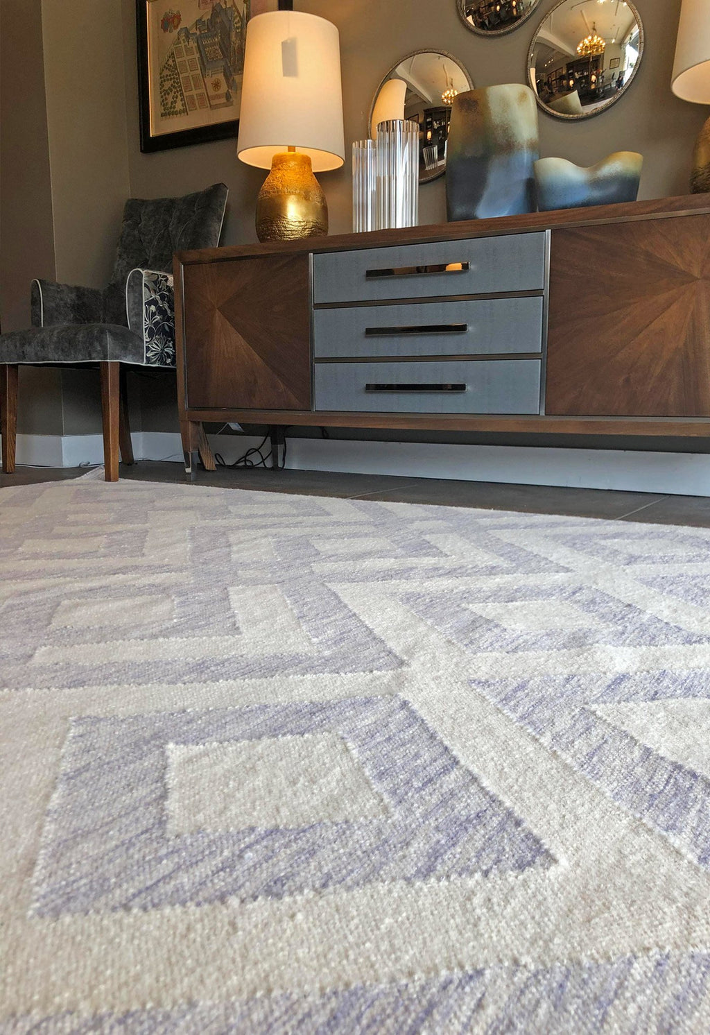 modern geometric rug in room