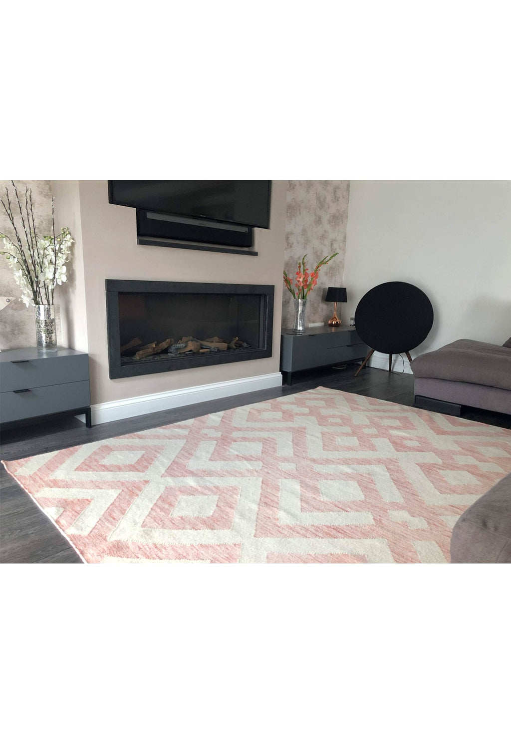 modern pink rug in living room