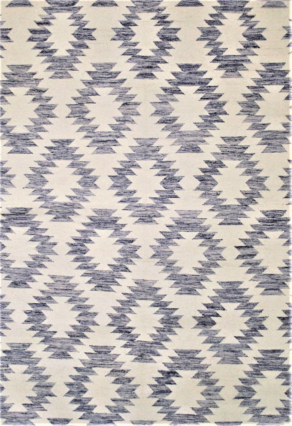 blue and cream geometric rug modern