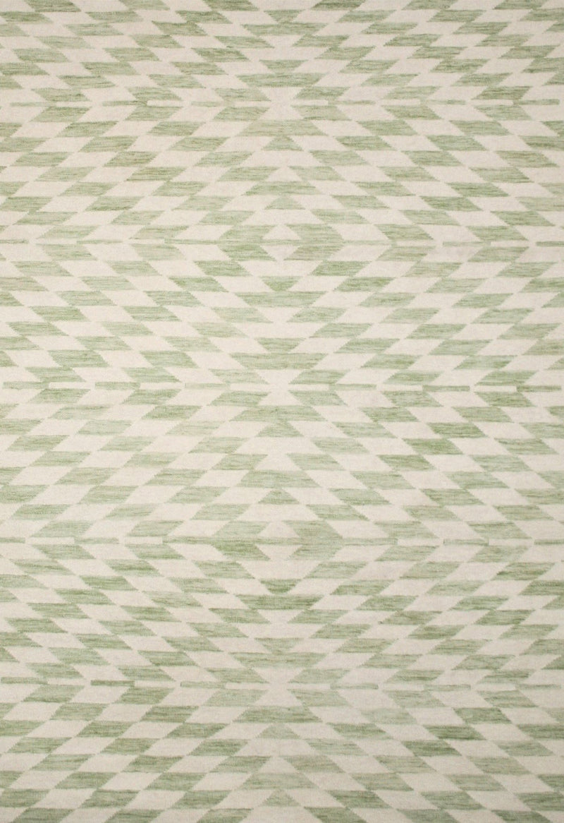 green modern rug with geometric design