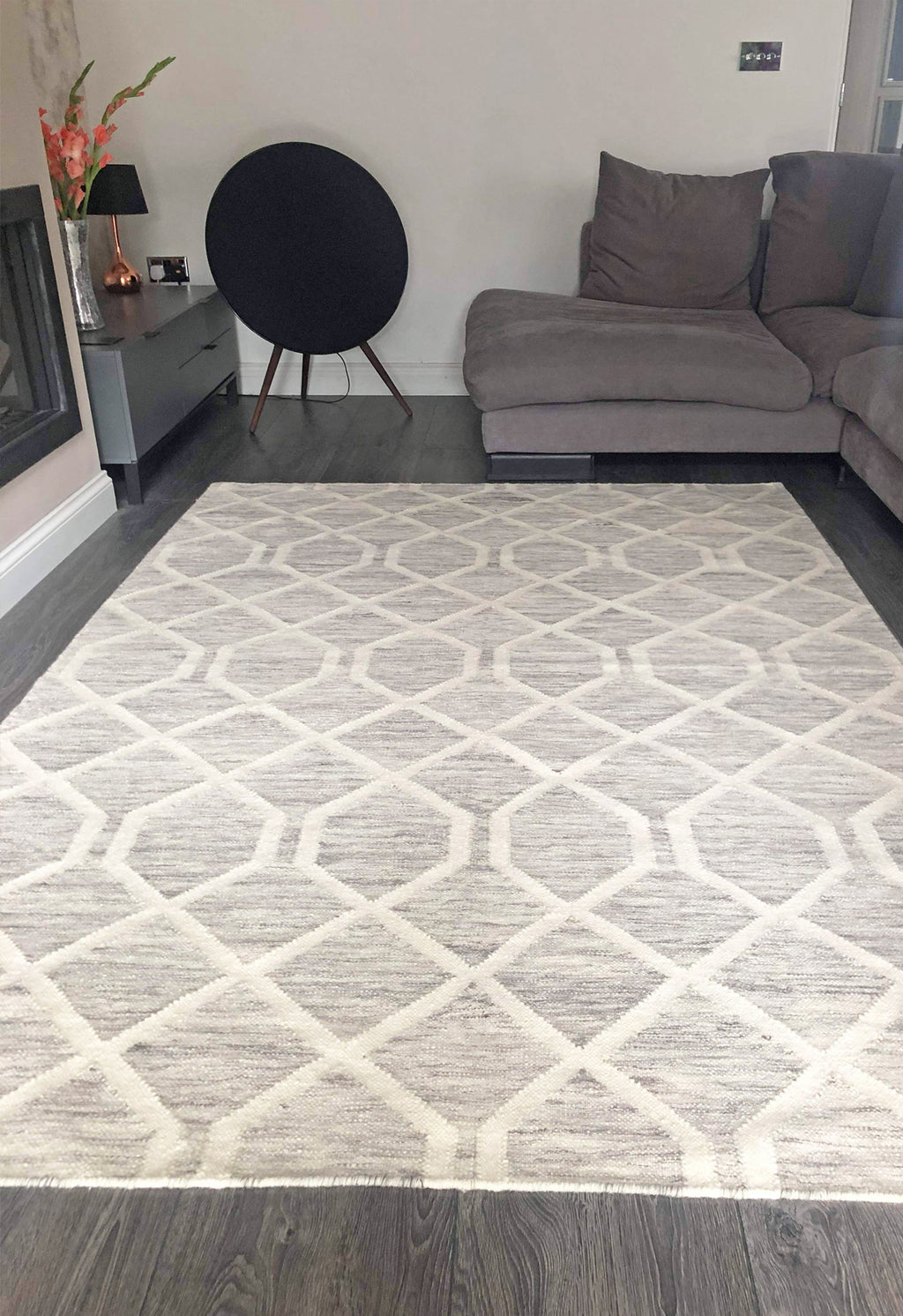 modern grey rug in living room