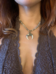 Grey Horn Pendant Necklace