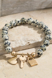 Dalmatian Beaded Bracelet with Charms