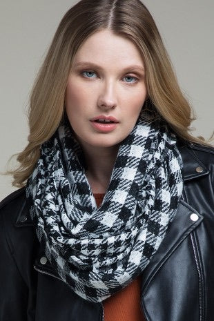 Black and White Buffalo Plaid Infinity Scarf