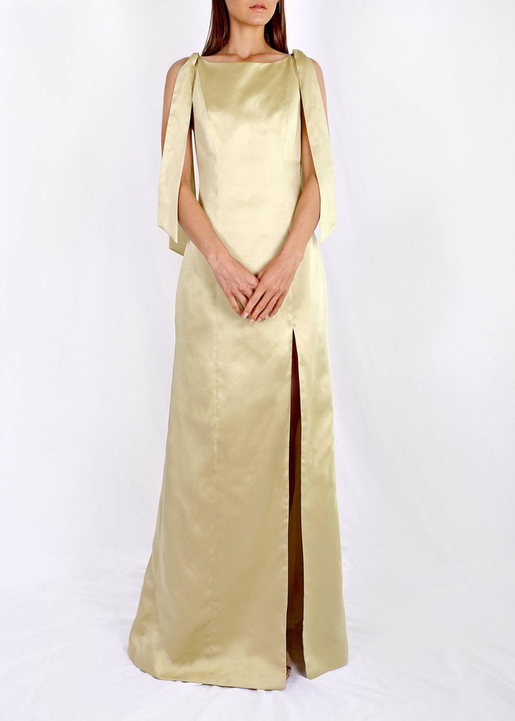 Form fitting floor length dress Invisible zipper closure Fully lined 100% Satin Polyester
