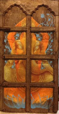 yogic meditation on antique door