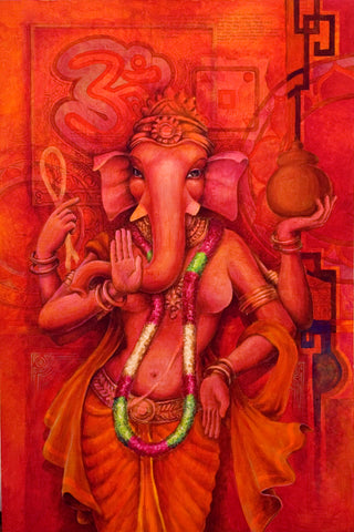 elephant female Ganesh in red