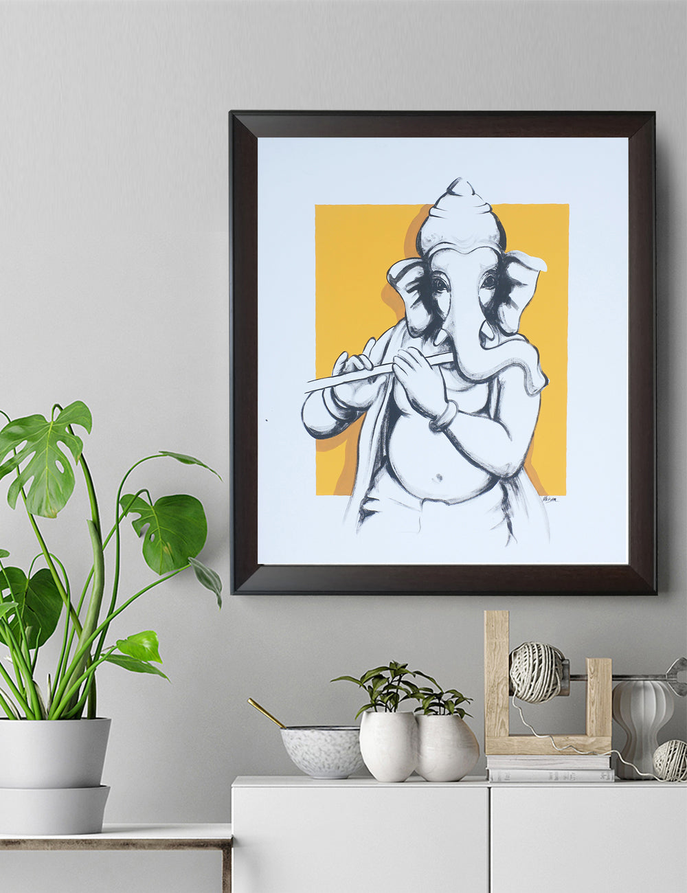 Line Drawing Lord Ganesh With Flute Prints Ganeshism